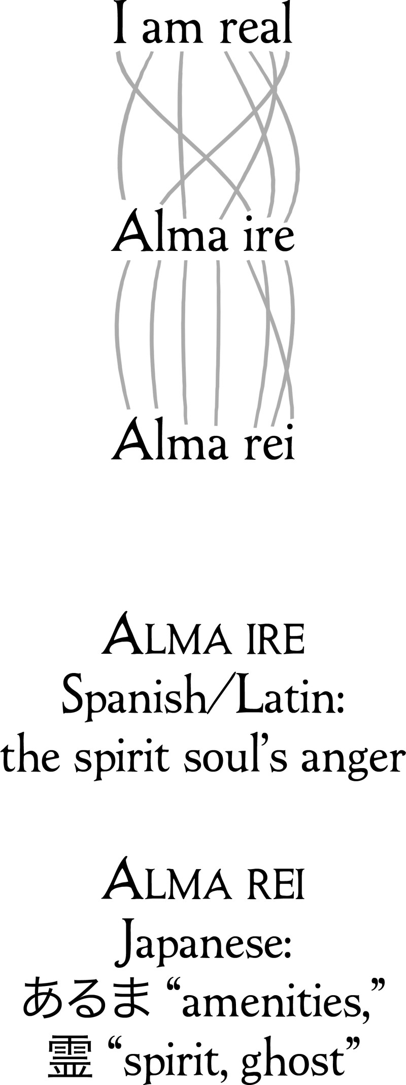 hight resolution of the spanish latin alma ire refers to the spirit soul s righteous anger in japanese alma rei refers to a ghost s amenities or useful features