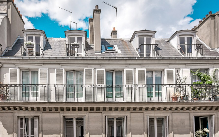 balconies in Paris with blue sky