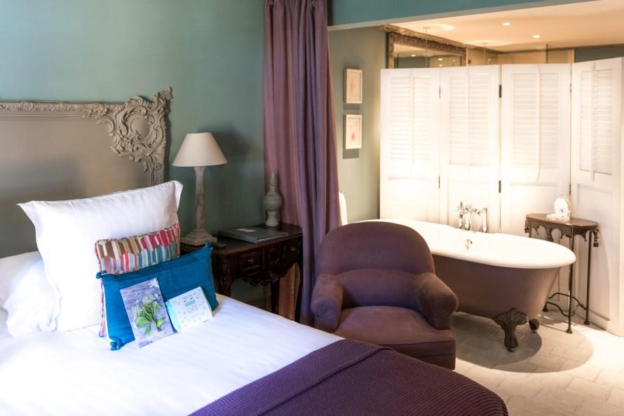 bed and bath at Villa Marie Saint Tropez