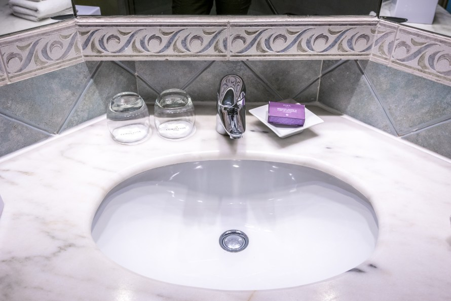 bathroom sink at Corinthia Hotel St. George's Bay Malta