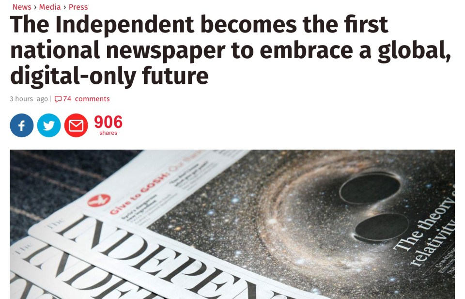 A death of print is announced