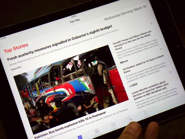 Apple news on iPad Air