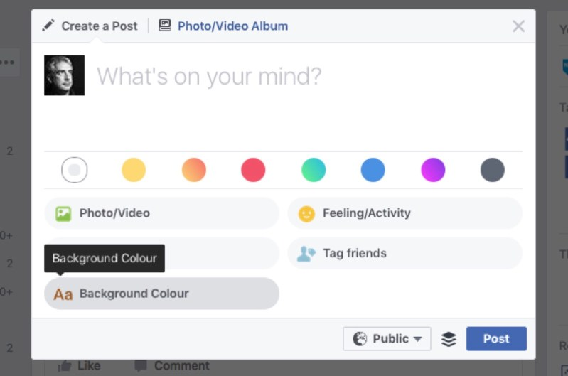 Facebook colour options