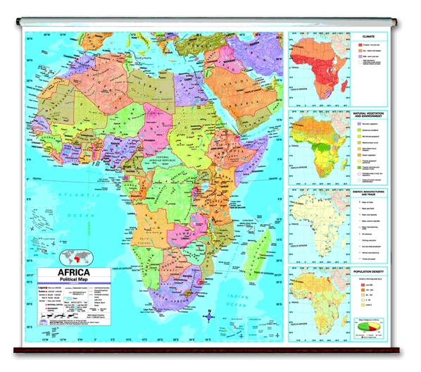 Continent political School spring roller wall maps