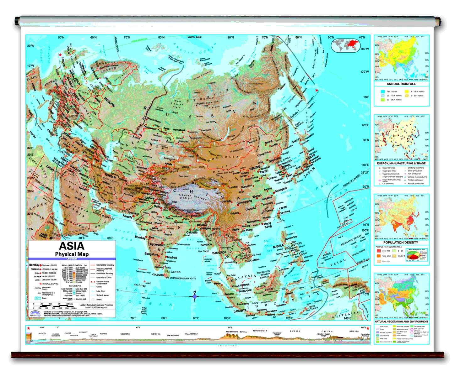 Physical Continent School Spring Roller Wall Maps