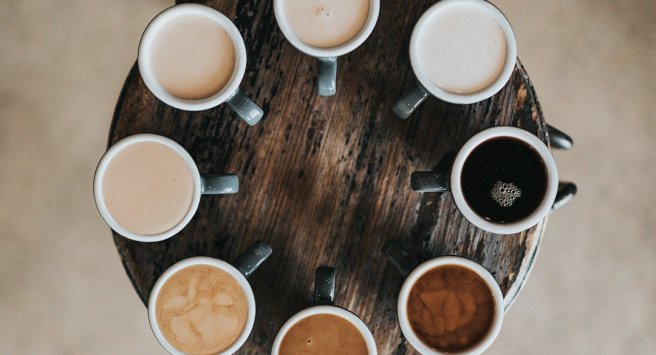 Lazy Susan of cups of coffee