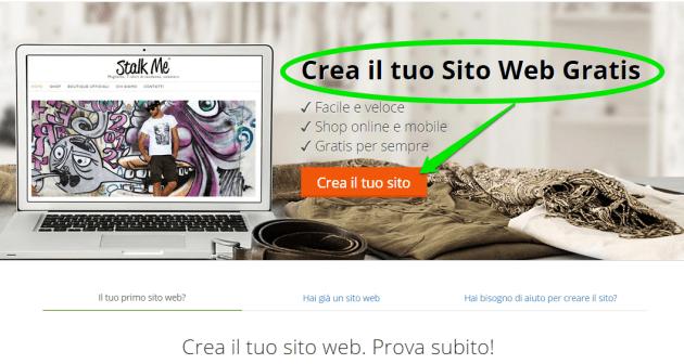 crea un sito web gratis