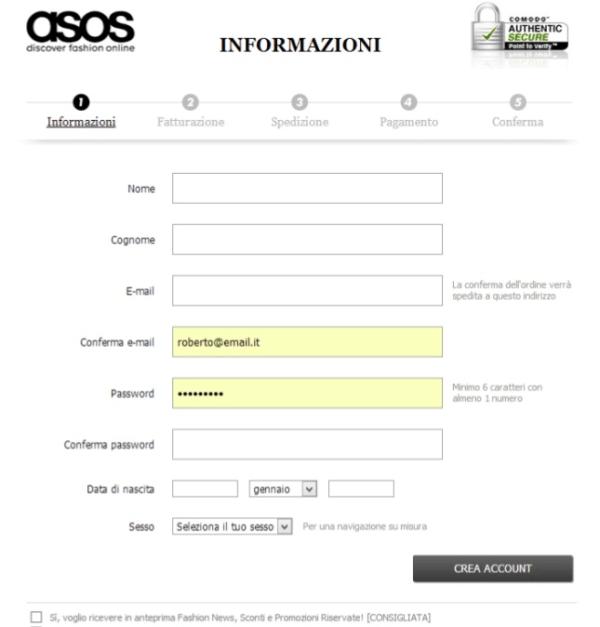 esempio registrazione buona nuovo cliente