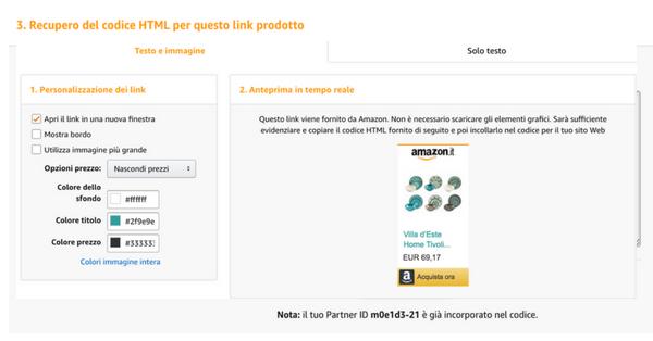 come creare un link in affiliazione da Amazon