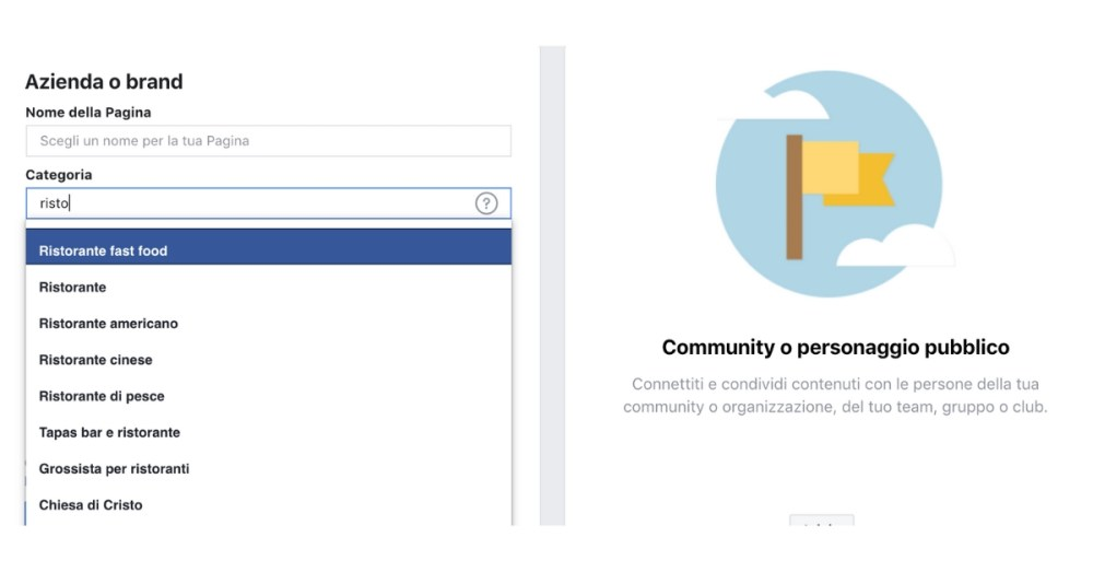 Creare una pagina su facebook step 2