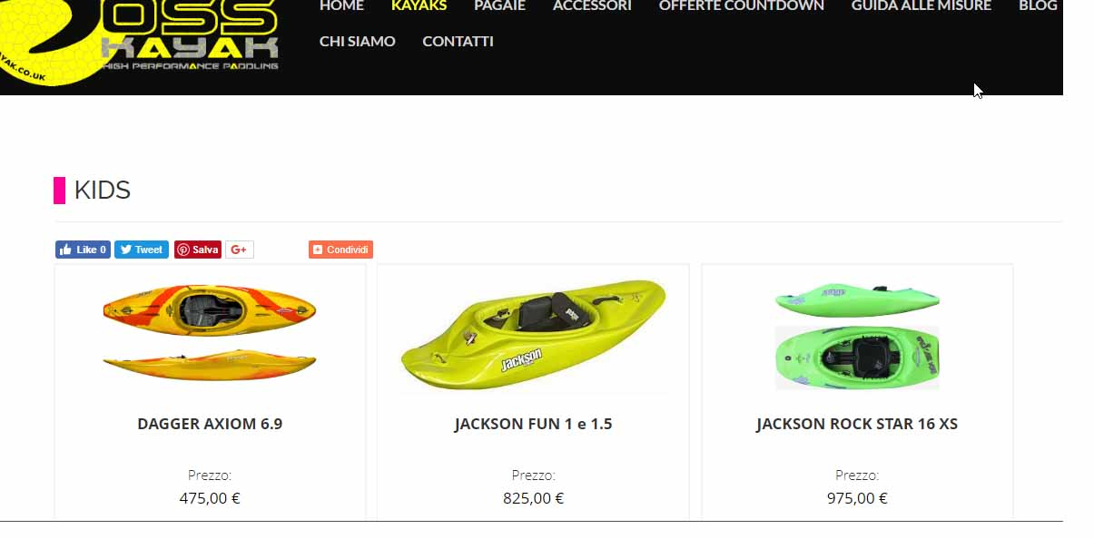 schermata di un sito ecommerce di esempio