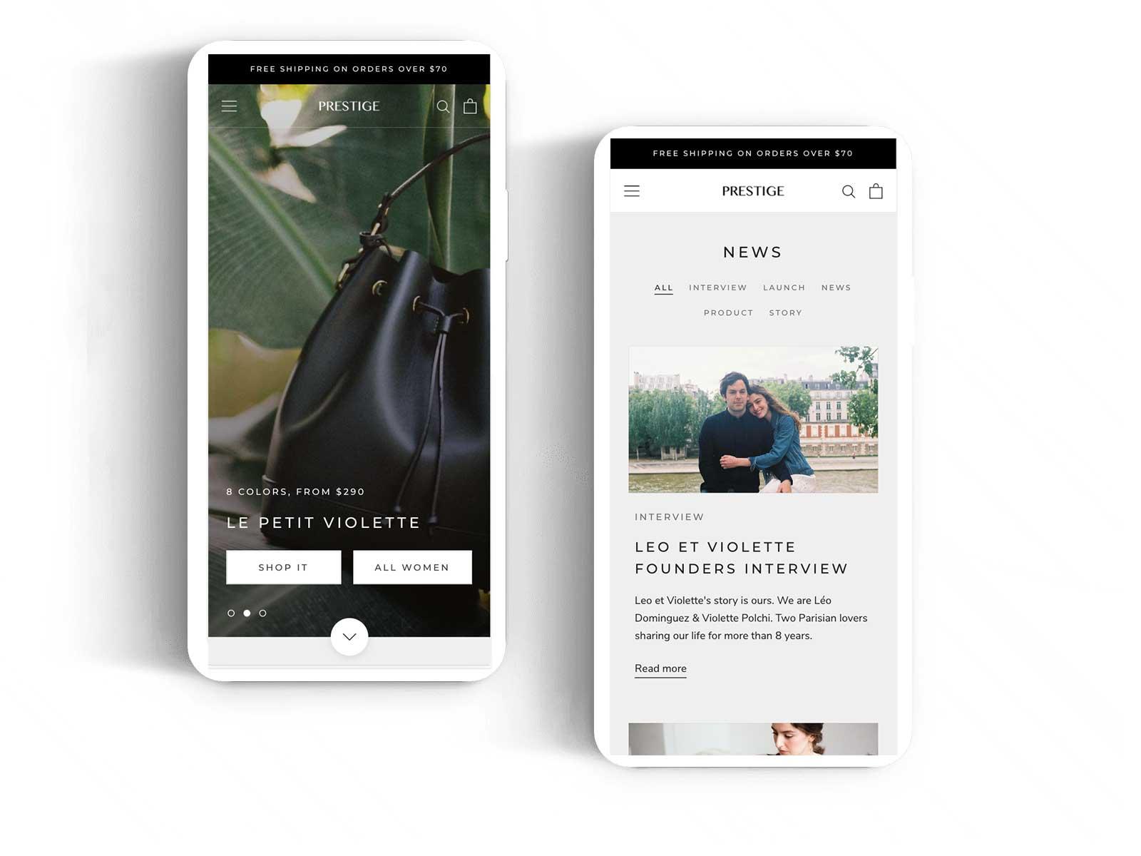 Prestige tema Shopify Basic