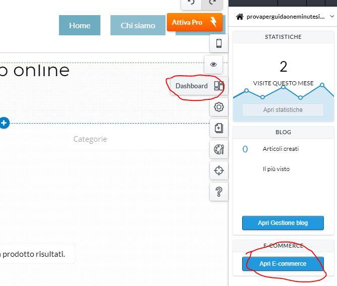 Come creare un ecommerce con One Minute Site 2.0 dashboard