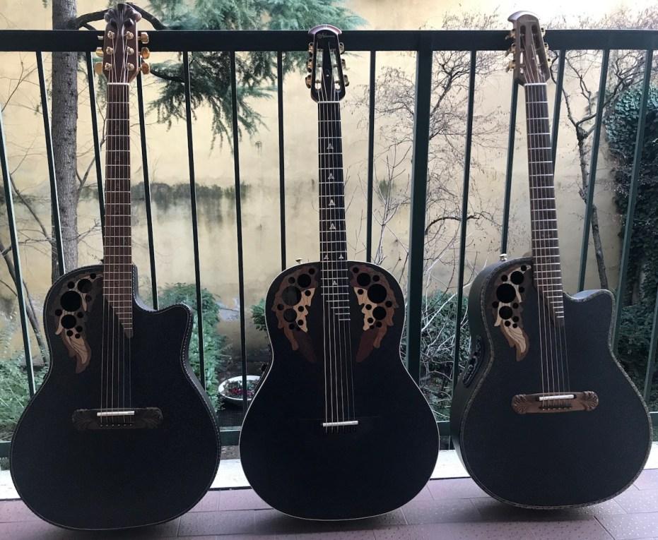 Three black Ovation Adamas
