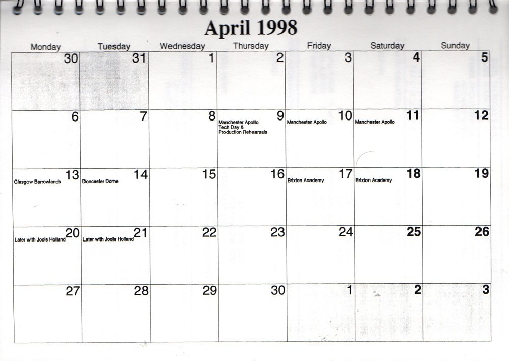 One Of The Three Itinerary 1998 April Best Of Uk Touritinerary