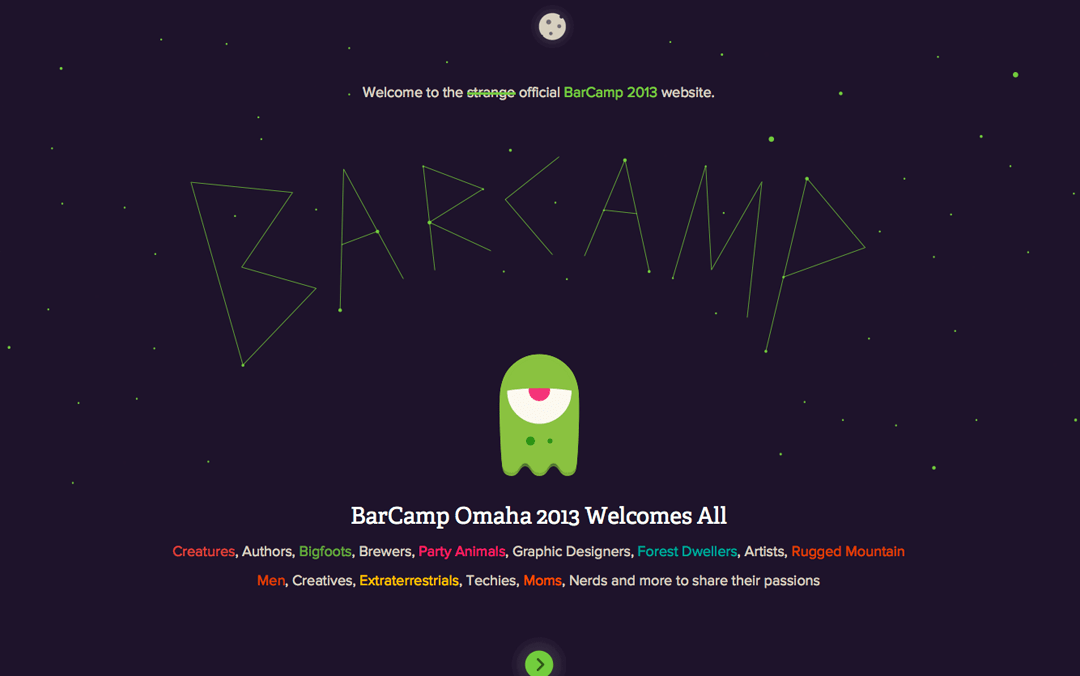 bar camp omaha one page websites