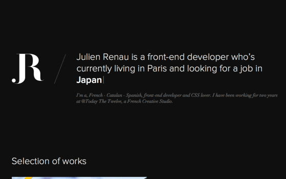 Julien Renau Sinlge page portfolio