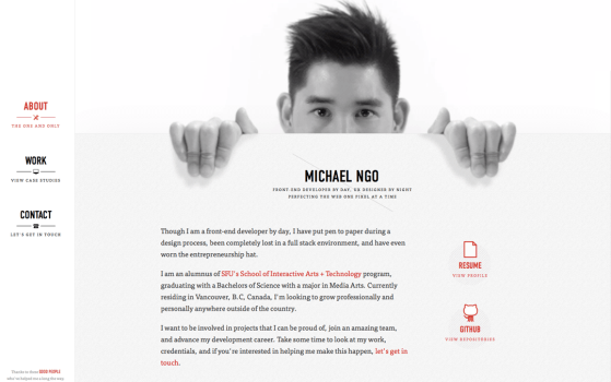 front-end developer one pager
