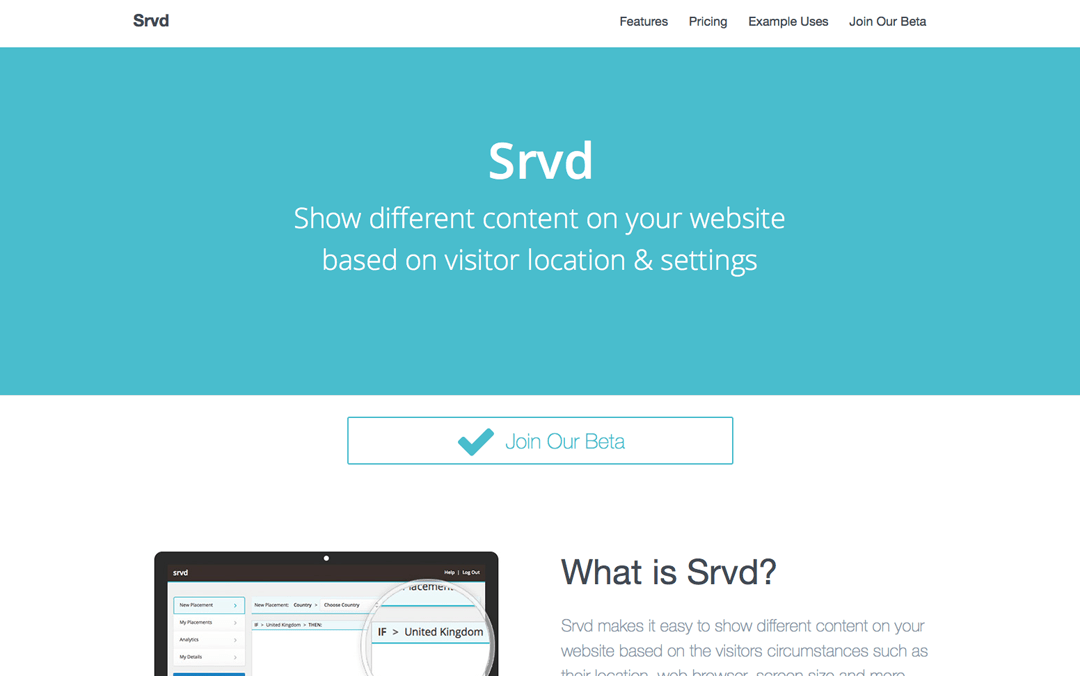 Srvd one page website