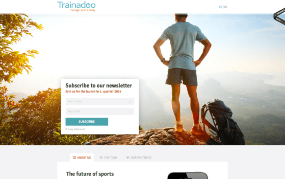 Trainadoo one page app website