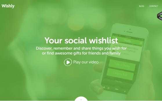 Wishly one page app website