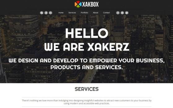 xakbox one page web design