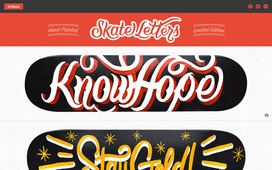 one page skateboarding website