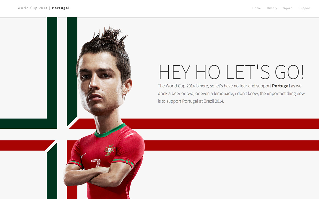 Great one page website for the worldcup