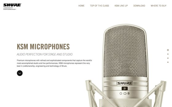 Shure KSM Microphones website