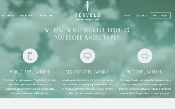 pervolo single page website portfolio