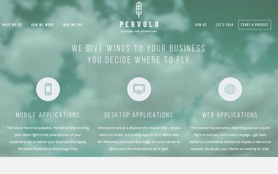 pervolo single page website portfolio