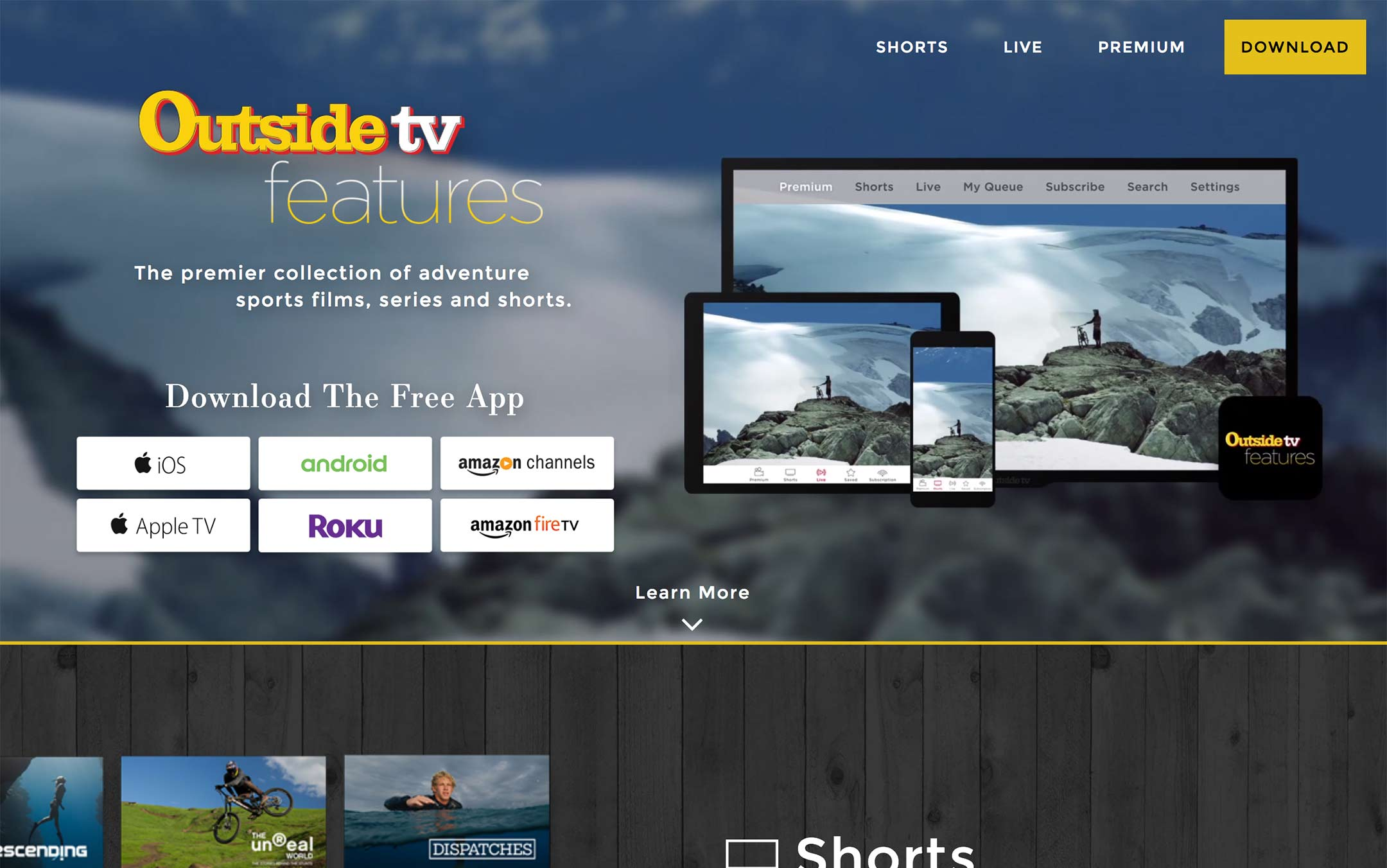 one page landing website for outsidetv