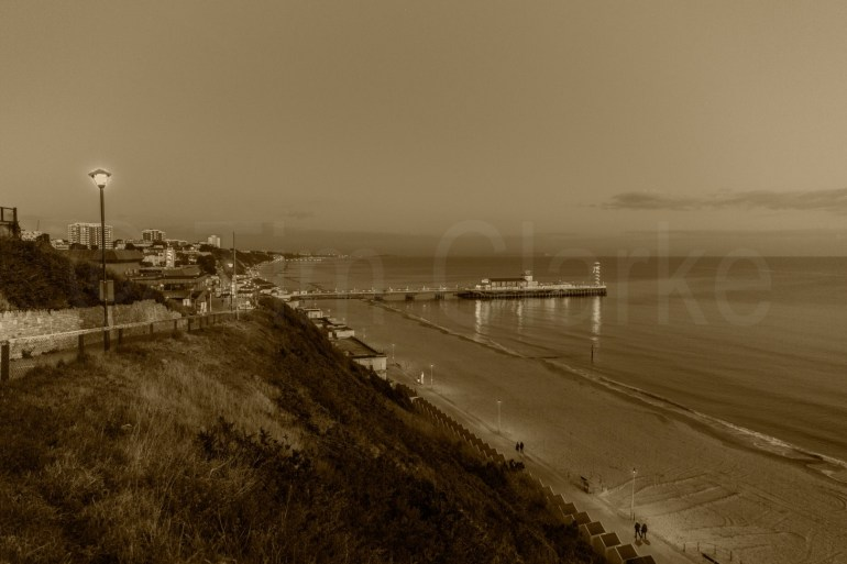 Bournemouth Beach from the West Cliff, showing the Pier and the Bay.