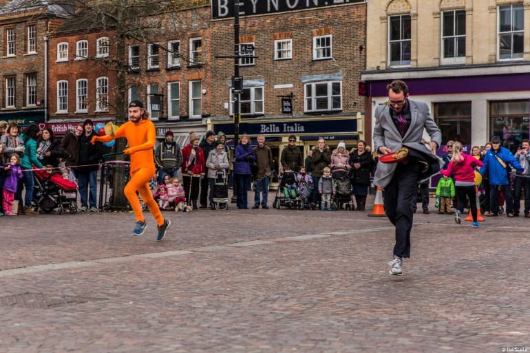 Newbury Pancake Race: Battle for First Place.