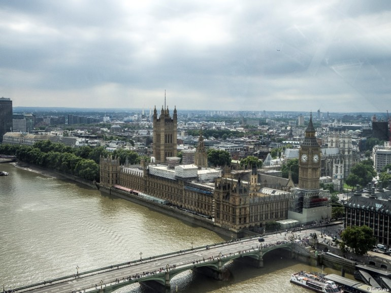 Houses of Parliament: As seen from the London Eye.