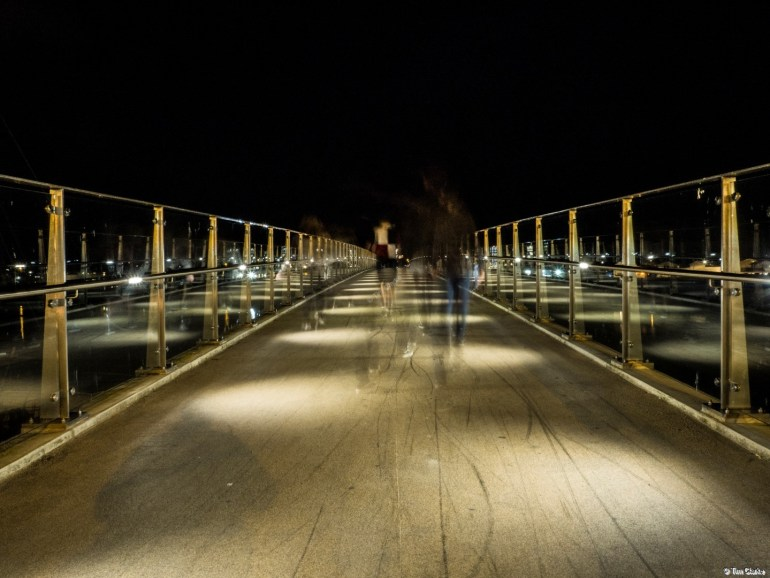 Adur Ferry Bridge: Walking into the night.