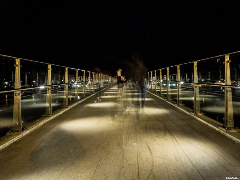 Adur Ferry Bridge: Walking into the night.