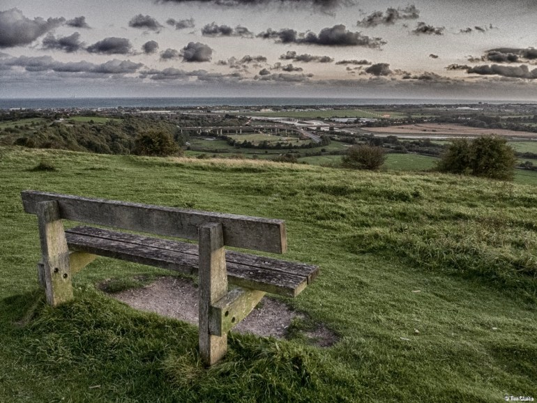 Bench: Looking across the Adur to the Channel.
