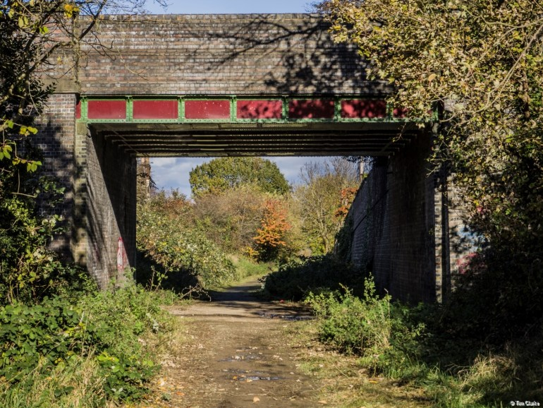 Great Central Railway Bridge: Carrying a road over the former trackbed.
