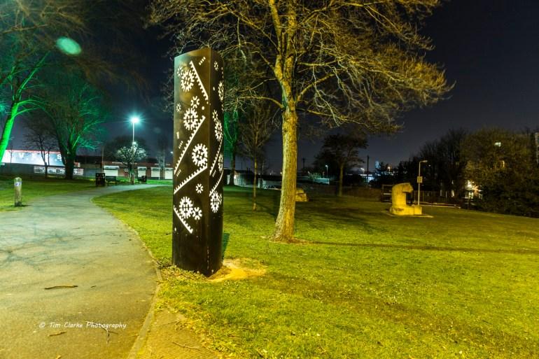 Internally Illuminated Sculpture in Broad Street Park, Wolverhampton.