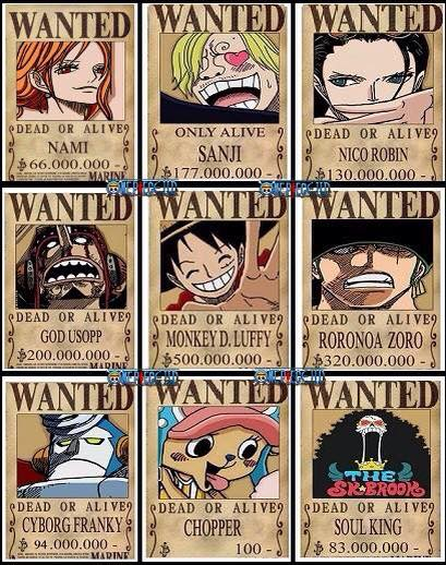 Nezumi, wanting revenge against luffy, personally ensured a bounty of 30,000,000 on him, giving him the highest bounty in east blue. Straw Hats New Wanted Posters One Piece Gold