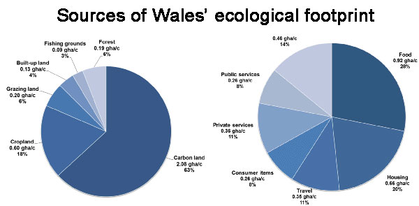Sources of Wales' ecological footprint