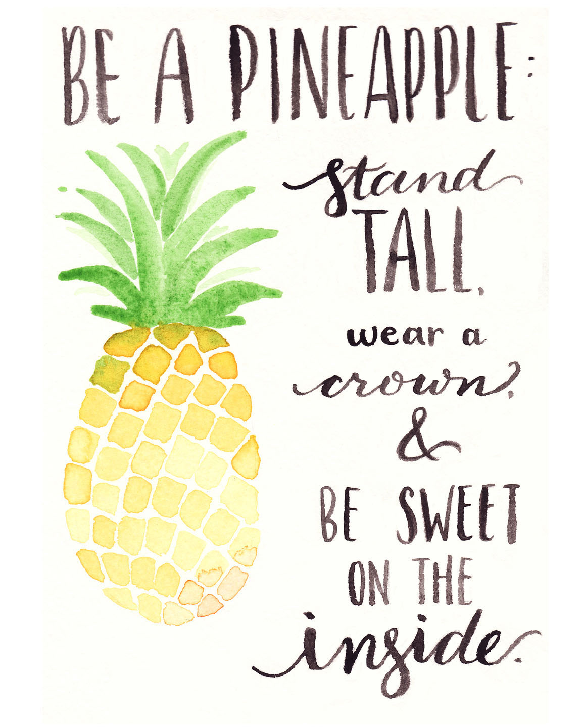 Free Watercolor Printable Be A Pineapple
