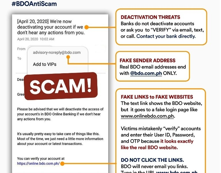 BDO Scam Beware of Fake Websites