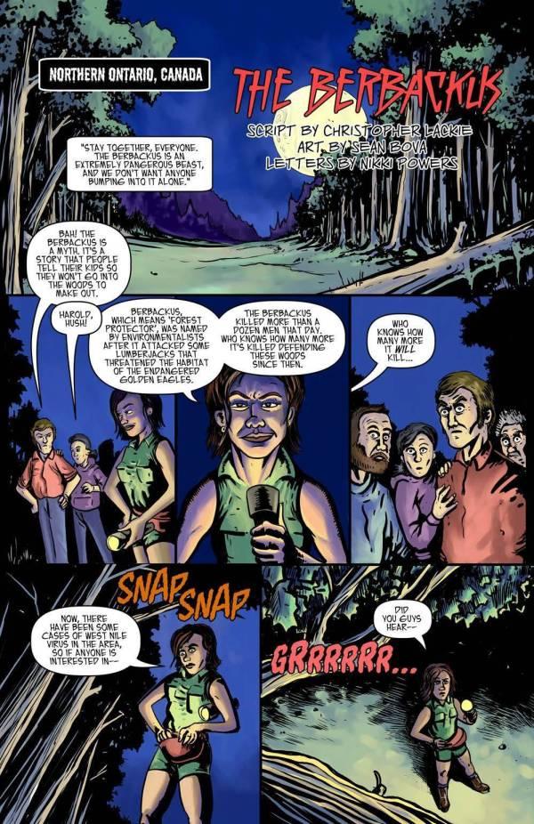 berbackus cryptid tour comic book chris lackie sean bova oenshi press justice anthology