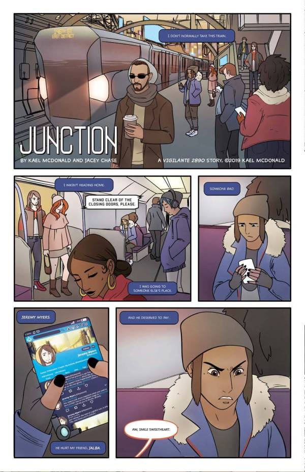 junction comic book subway train station kael mcdonald jacey chase vigilante 2890 oneshi press justice anthology comic book