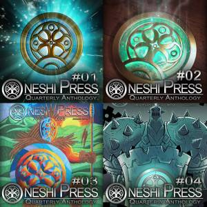 4 cover images of Oneshi Press comics antholgies 01 - 04 combined