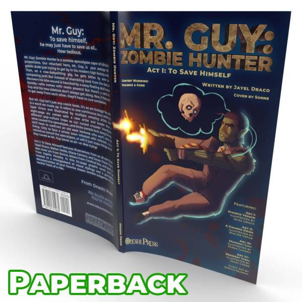 Mr. Guy: Zombie Hunter - Act 1 paperback perfect bound cover open