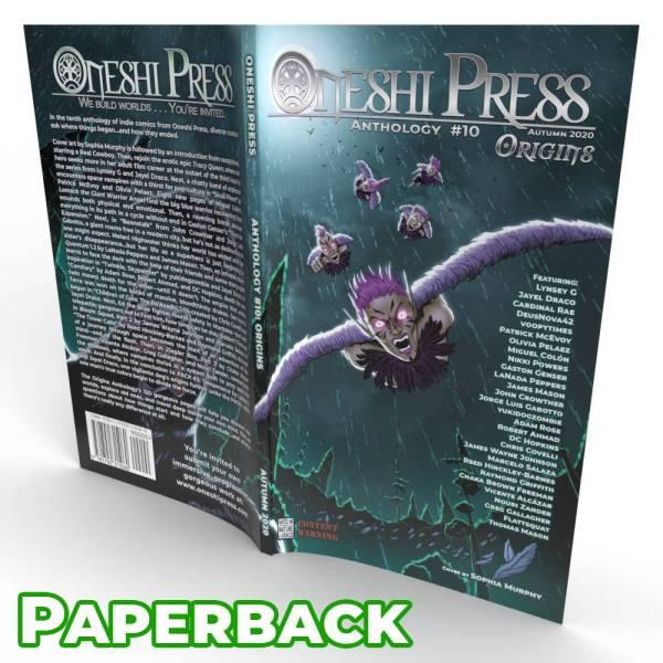 Oneshi Press Comics Anthology 10, Origins: Cover paperback open