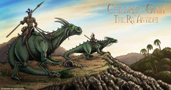 An illustration of primitive knights mounted on giant dinosaur-like dragons called drakes from Children of Gaia: the Ra'Avadhi.